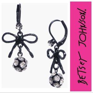 Betsey Johnson Bow & Crystal Ball Earrings